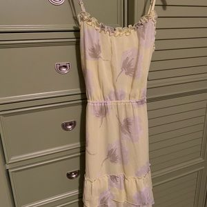 Yellow Mid length, flowy floral dress